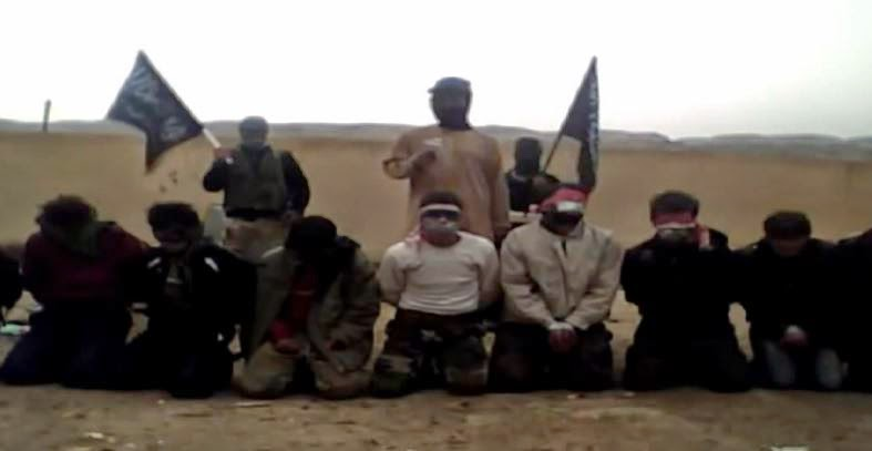 "Members of Jihadist group Jabhat al-Nusra prepare to execute those they have  deemed as ""enemies"" in this video they recorded and posted."