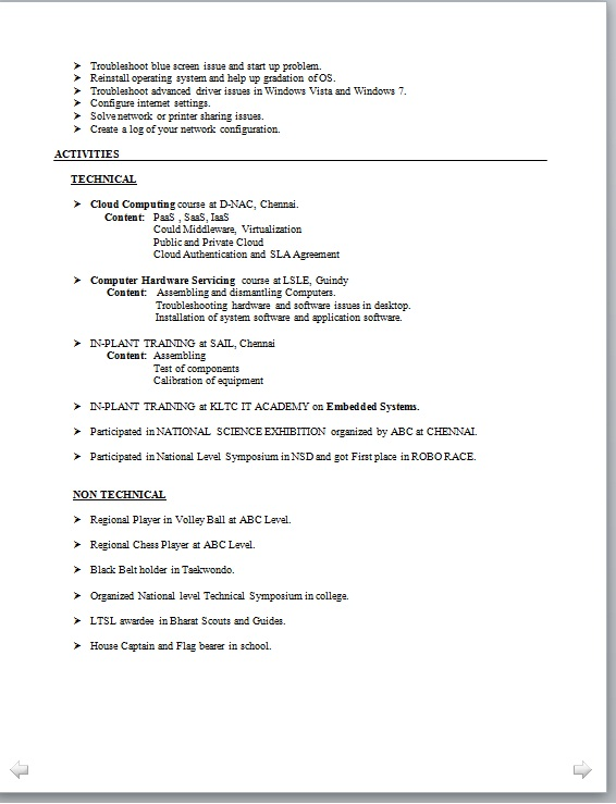 Resume For Internship Electronics And Communication Engineering ...