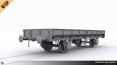 Fastline Simulation: In progress clay render of a 33t SPV plate wagon.