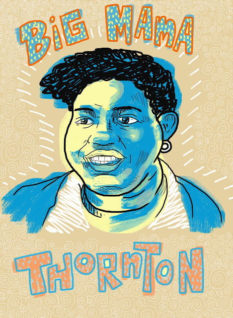 blues, Big Mama Thornton, singer, singers, early recording, hound dog, big mama, iPad, art