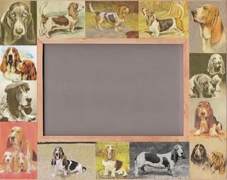 A Basset Hound Dog Frame with vintage Basset images adhered to the wood.