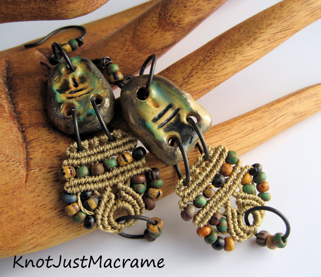 Beaded micro macrame earrings with ceramic connectors.
