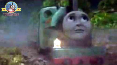 Thomas and friends Sodor fog man's old brass oil magic train lamp outside his wooden log-cabin hut