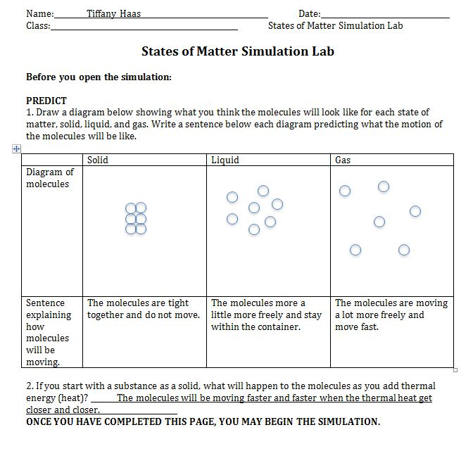 Visualizing Chemistry – Phase Change Worksheet Answers