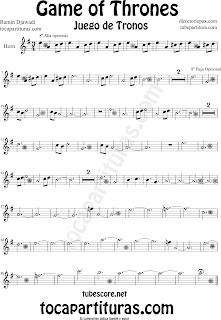 Partitura de Juego de Tronos para Trompa y Corno Game of Thrones Sheet Music for Horn by Ramin Djawadi Music Scores