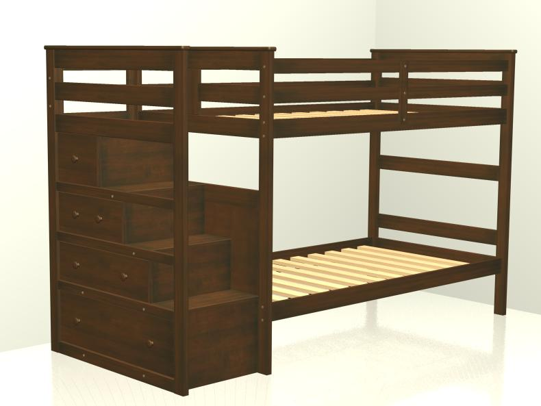 F one 39 s bed stairway bunk bed for Reverse loft bed