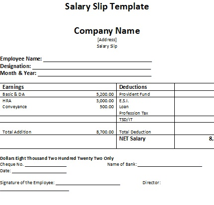Salary Sample Format