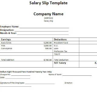 salary slip template sample, free salary slip template sample, salary slip template picture