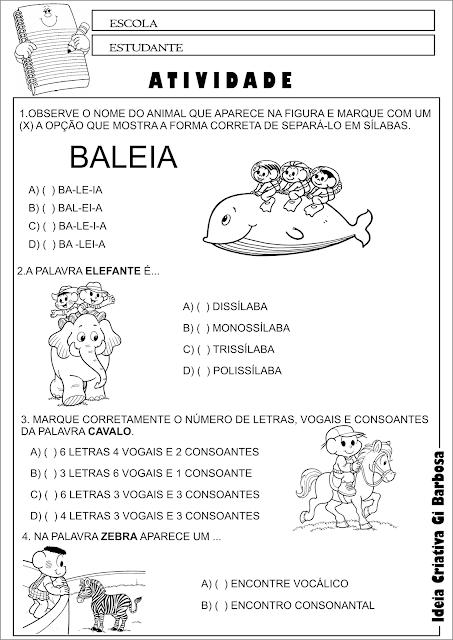 Atividade Língua Portuguesa 2° Ano Questões múltipla escolha temática Animais
