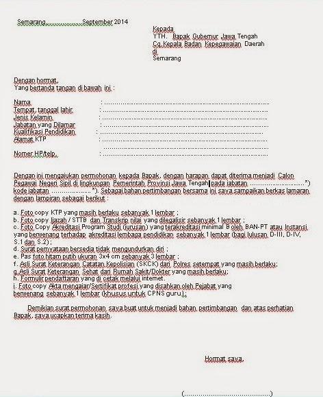 contoh surat lamaran kerja cpns terbaru 2014