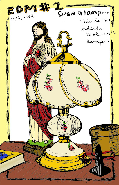 EDM 2 - My Lamp on My Bedside Table, Pen and Ink with Digital Colour By Ana Tirolese ©2012
