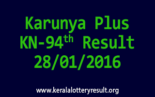 Karunya Plus KN 94 Lottery Result 28-01-2016