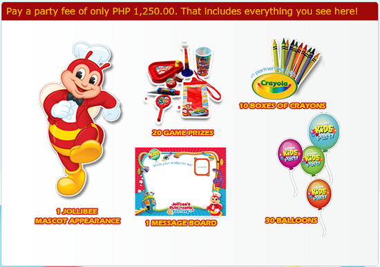 Jollibee Party Package items for 2016