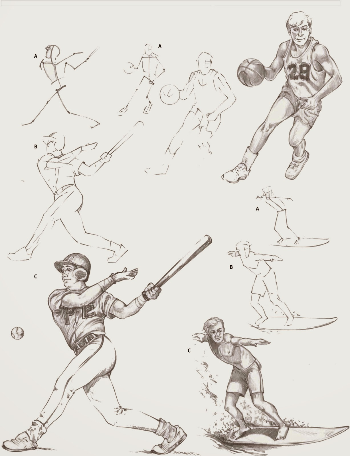 Drawings sports figures in action for Body movement drawing