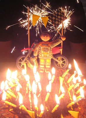 Motocross Dirt Bike Racing Cake - Lit Up