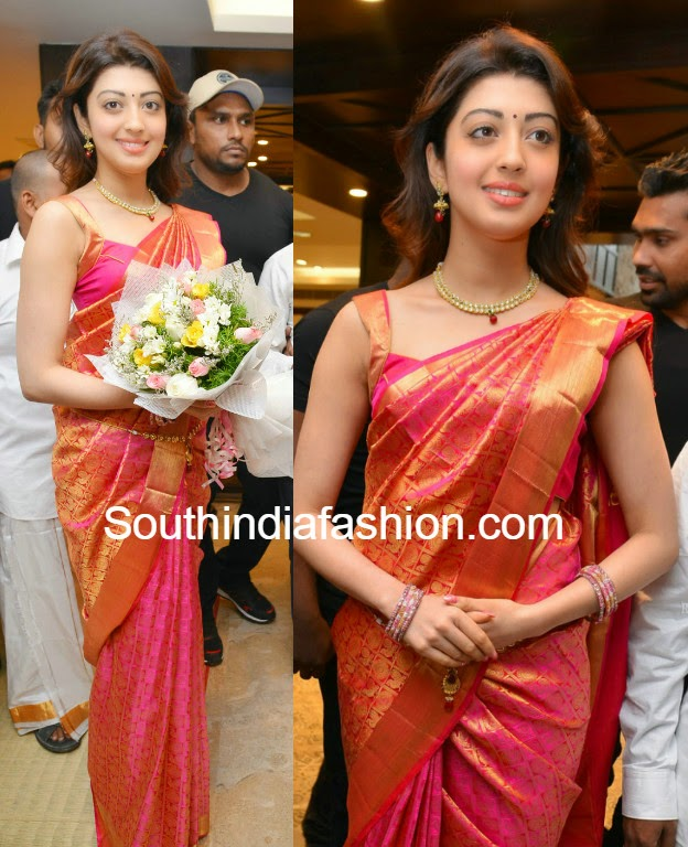 pranitha in pattu saree at vrk silks launch