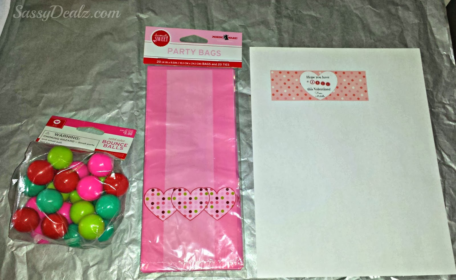bouncy ball valentines bag idea - Valentine Goodie Bag Ideas