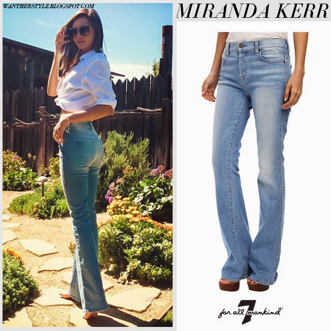 Miranda Kerr in blue denim flared jeans from 7 For All Mankind want her style fashion inspiration april 2015