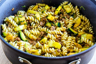 Rustic Pasta Sauce Recipe with Italian Sausage, Zucchini, and Sage found on KalynsKitchen.com