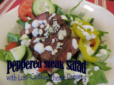 Two Magical Moms Peppered Steak Salad With Low Cal Blue