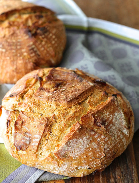 Spelt and Einkorn Sourdough Bread with Caramelized Onions and herbes de Provence