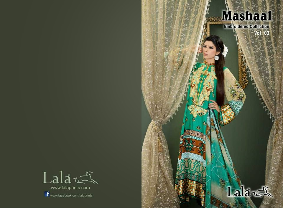 MashaalEmbroideredCollection2014VOL 03ByLalaTextile 1  - Mashaal Embroidered Collection 2014 VOL-3