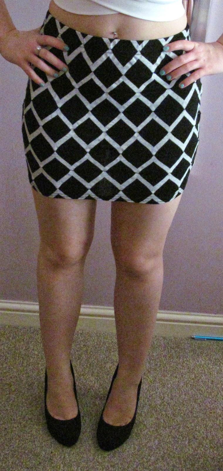 boohoo grid print skirt