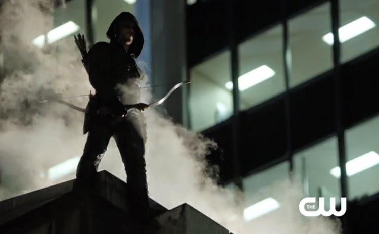 Arrow smoke fog Betrayal Season One Episode Thirteen silhouette Stephen Amell