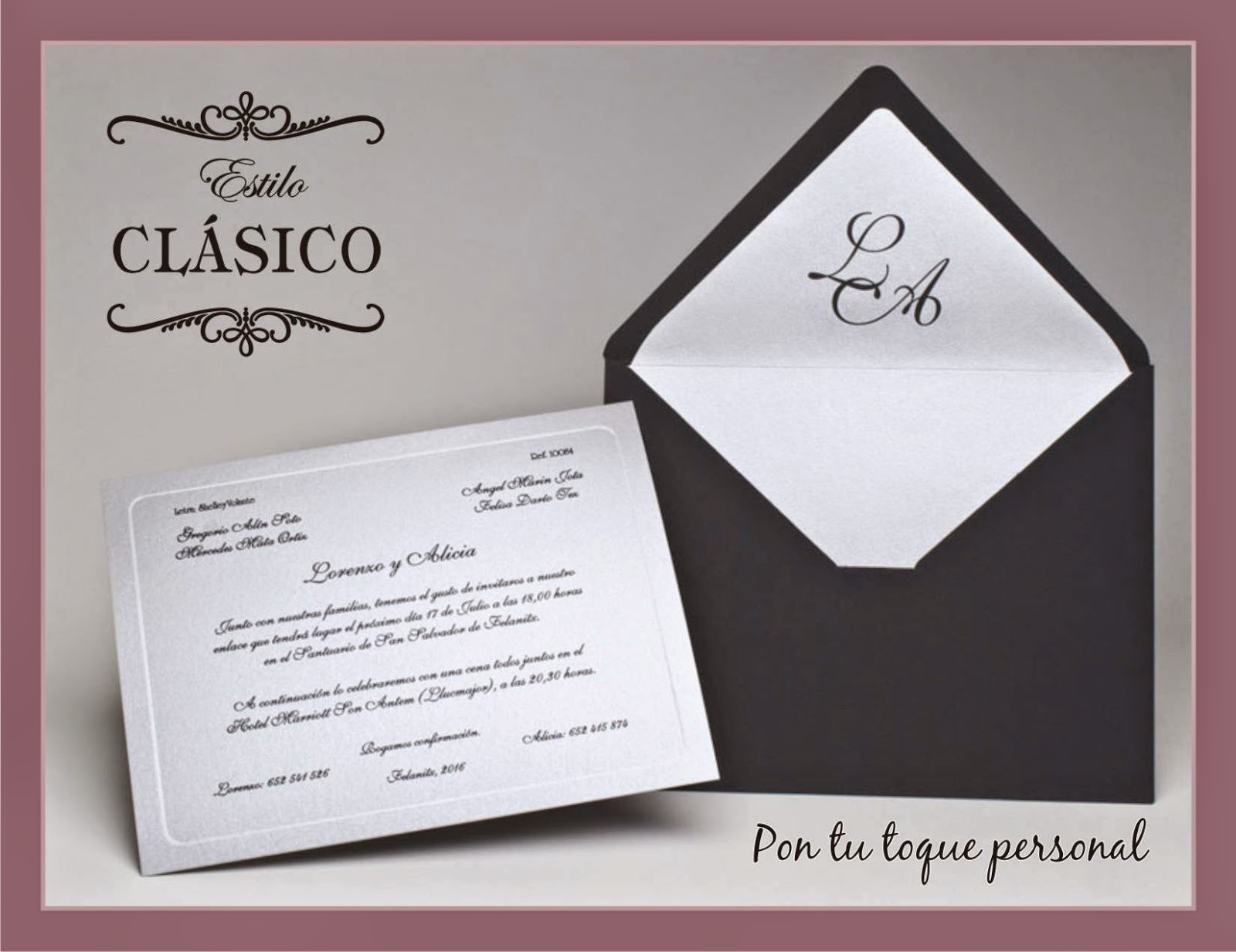 Invitación boda clásica blanco negro sobre forrado
