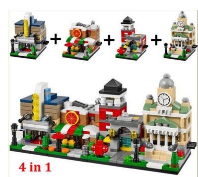4 sets/lot Decool 1101-1104 4 Toys-R-Us Bricktober Mini Modular Set Movie Theater/Pizza Place/Fire