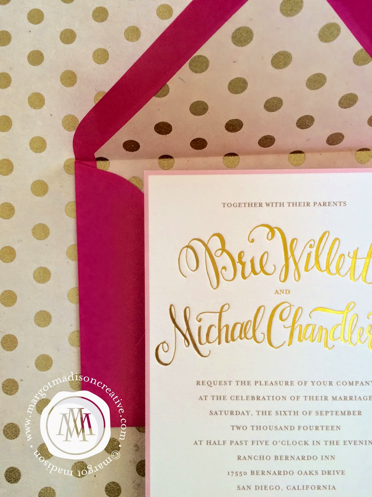 margotmadison gold foil wedding invitations