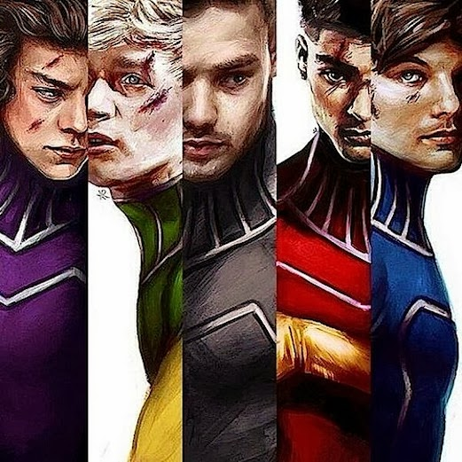 One Direction as really airbrushed superheroes