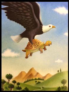 El Tortuga y el Águila con moraleja de Esopo