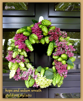 Hops and Sedum wreath