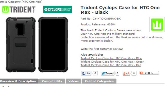 Phone Cover HTC One Max appears before launch