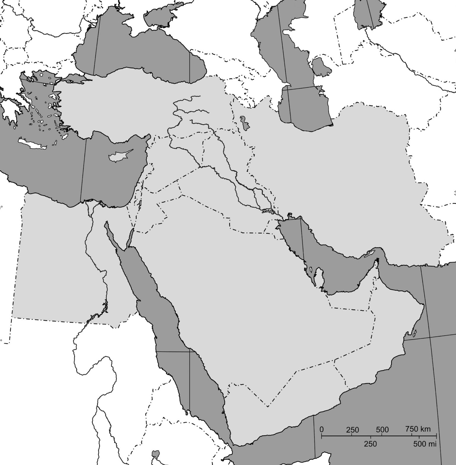 Online Maps: Blank map of Middle East