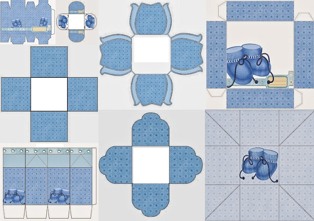 Baby Shoes in Light Blue: Free Printable Boxes.