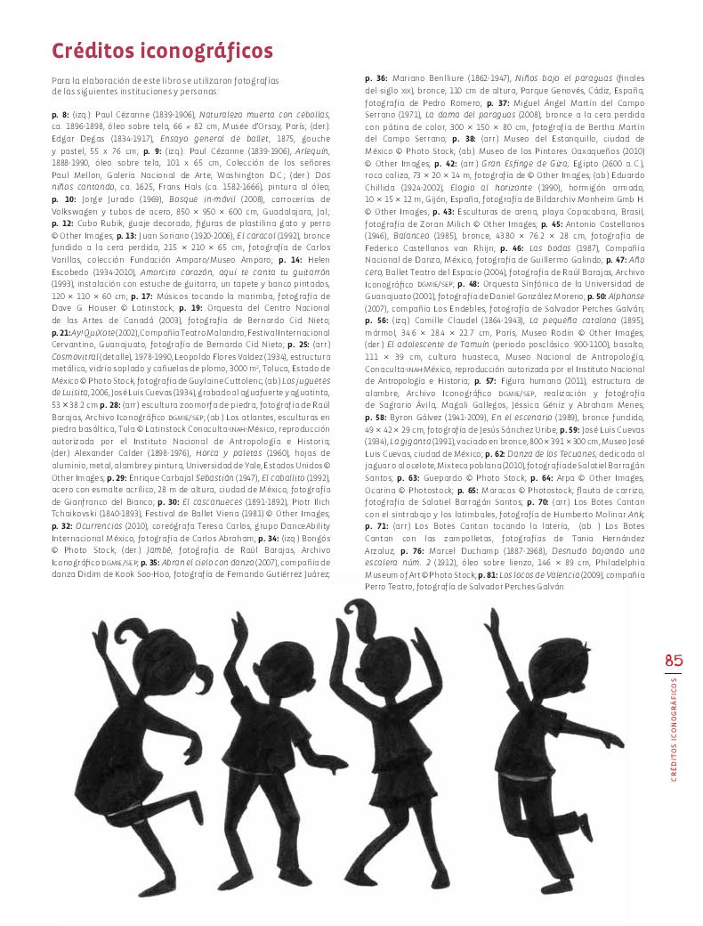 Créditos iconográficos - Educación Artística Bloque 5 2014-2015