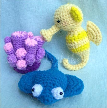 Crochet Sea Life Amigurumi : Amigurumi Pattern-Seahorse Stingray&Coral Sea and ...