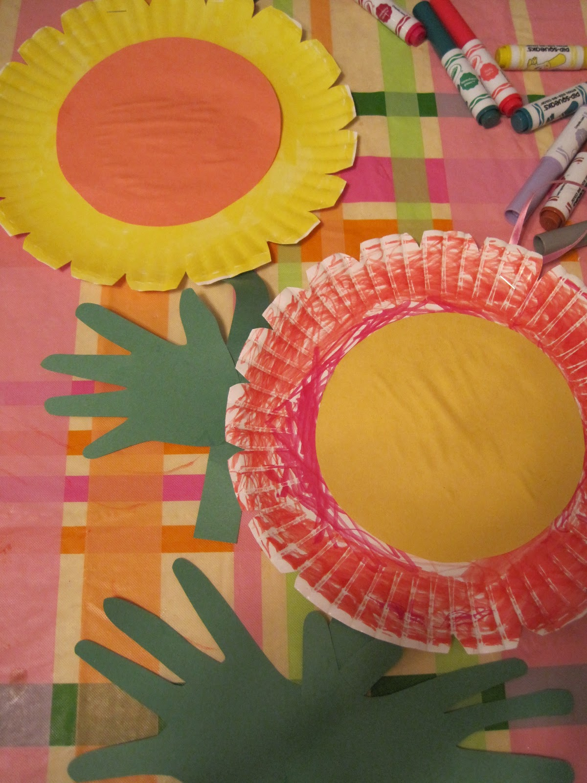 Walk In The Sunshine Paper Plate Handprint Flowers