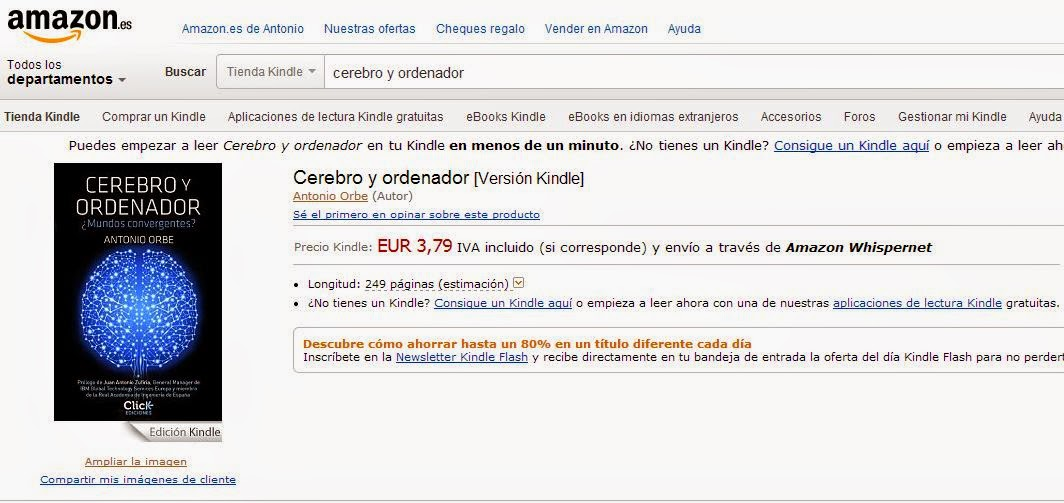 Puedes adquirir Cerebro y ordenador en Amazon