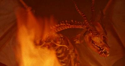 костяной дракон в огне
