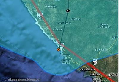 Hurrikan JOVA geht in Jalisco, Mexiko,  über Land, Jova, Puerto Vallarta, Verlauf, Zugbahn, aktuell, Pazifik, Mexiko, Jalisco, Nayarit, Oktober, 2011, Hurrikansaison 2011,