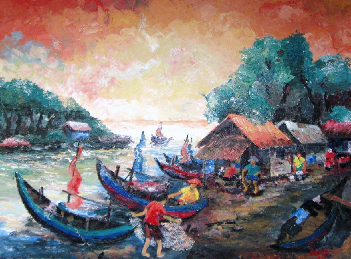 Galery Lukisan: Lukisan Kampung Nelayan