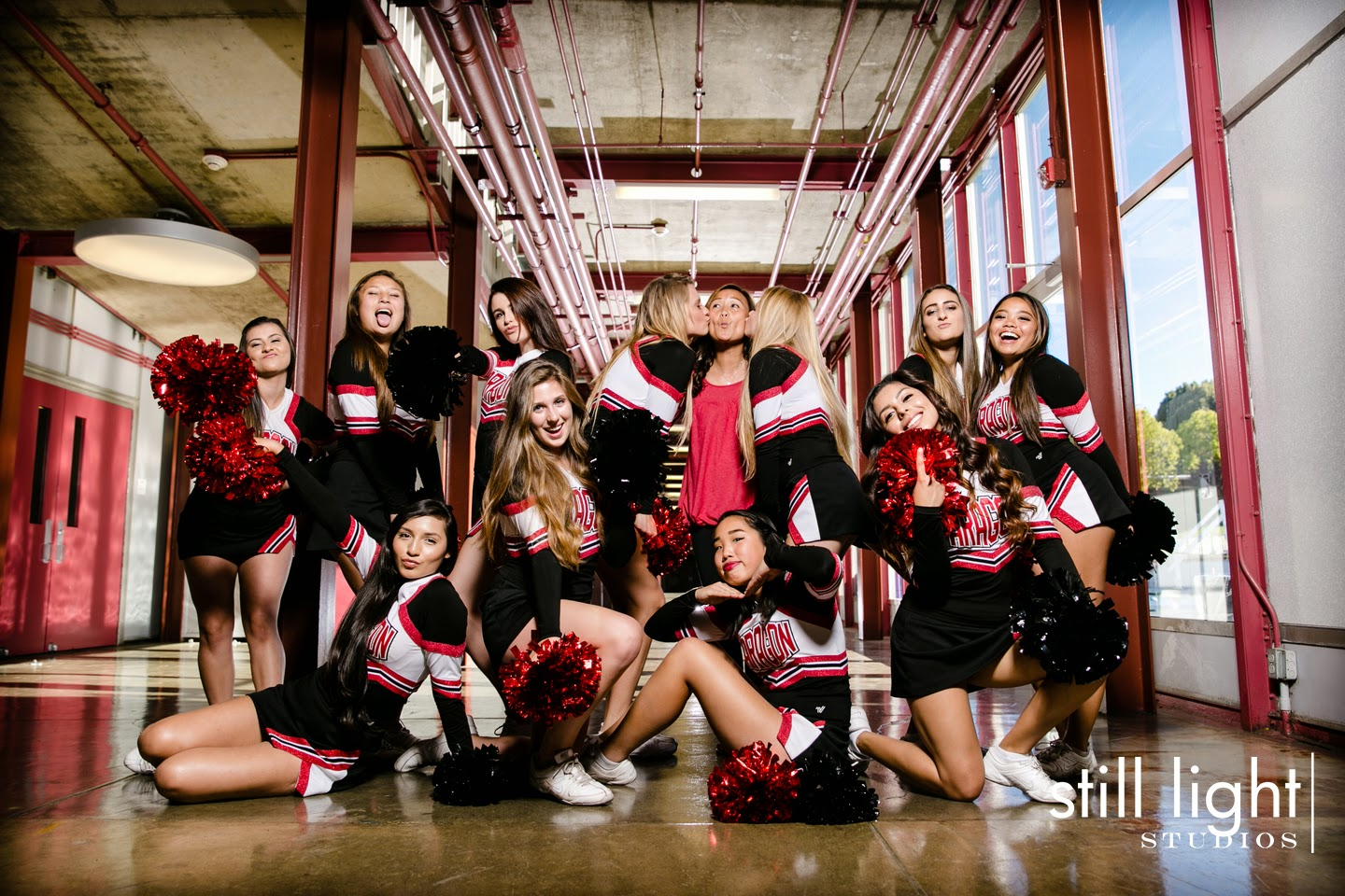 San Mateo Aragon High School Cheer Photo by Still Light Studios, School Sports and Senior Portraits Photography in Bay Area, cinematic, nature, cheerleaders