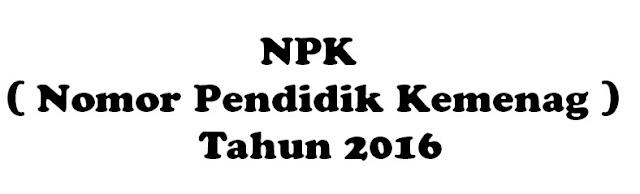 NPK (Nomor Pendidik Kemenag)