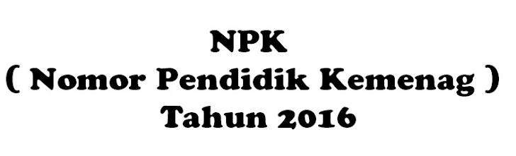 NPK , Nomor Pendidik Kemenag Sejenis NUPTK