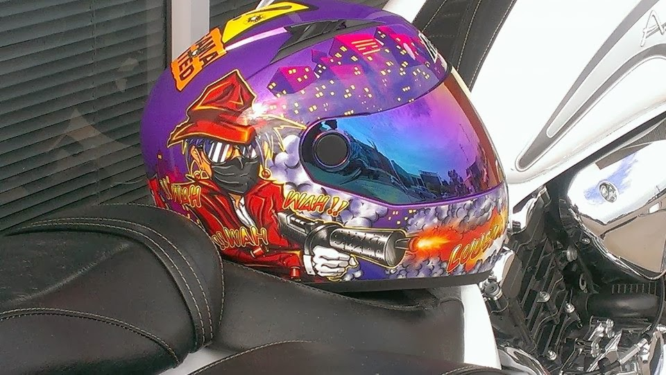 Masei 832 purple luusama dot helmet with a custom bike sales@