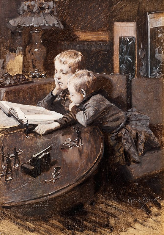 O G Björck (1860-1929) Children Reading