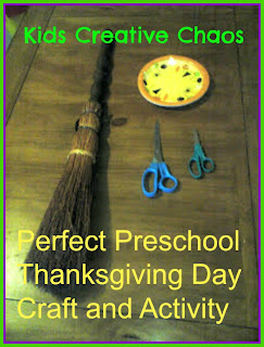 Broomstick Toss Craft and Game for Kids for Fall Thanksgiving Activity